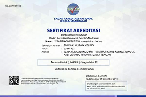 Akreditasi SMK Al Husain Keling